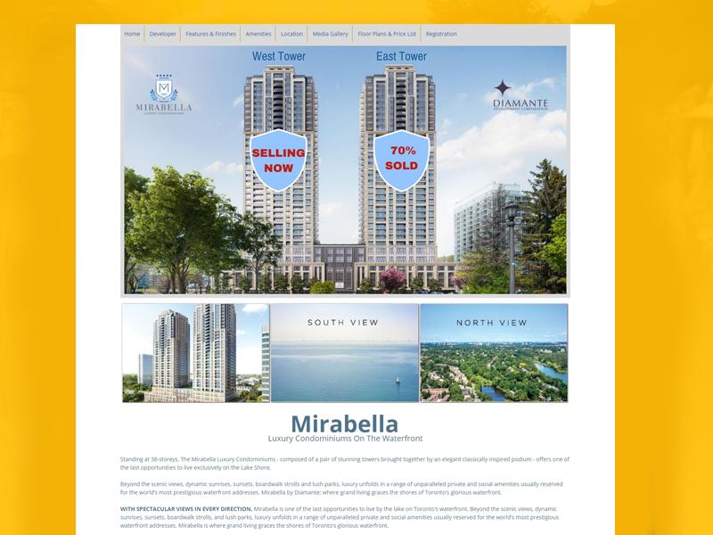 Real Estate Landing Page Design, Mirabella Condos