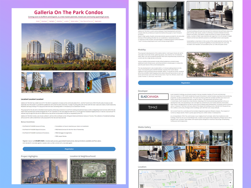 Real Estate Landing Page Design, Galleria On The Park Condos
